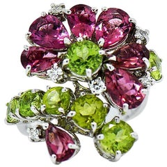 Designer Tourmaline, Peridot and Diamond Floral Cluster Ring