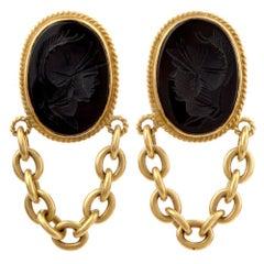 Designer Vahe Naltchayan Onyx Roman 18 Karat Yellow Dangle Clip-On Earrings