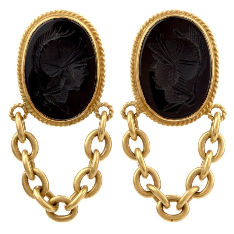 Designer Vahe Naltchayan Onyx Roman 18 Karat Yellow Dangle Clip-On Earrings For Sale