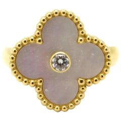 Designer Van Cleef and Arpels XL Alhambra Mother of Pearl 18K Yellow Gold Ring