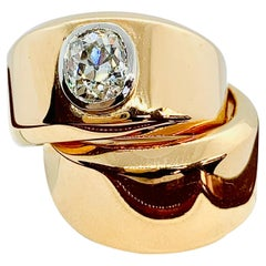 Designer Vhernier 18 Karat Yellow Gold and Diamond Double Wide Band Ring