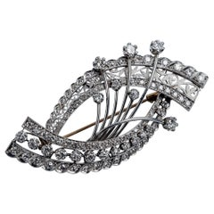 Designer Vintage Diamonds Platinum and 18 Karat Gold Brooch