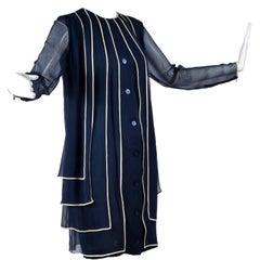 Designer Vintage Dress in Layered Navy Blue Silk Chiffon w White Trim