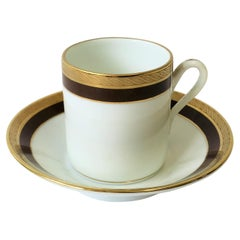 Designer White and Gold Italian Espresso Cup and Saucer by Richard Ginori