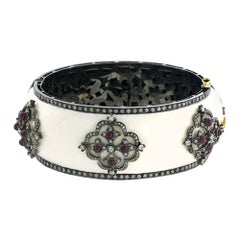 Designer White Enamel Bangle with Diamond and Ruby Set in Gold and Silver