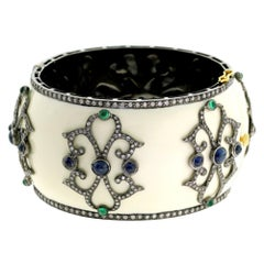 Designer White Enamel Bangle with Diamond and Sapphire Set in Gold and Silver