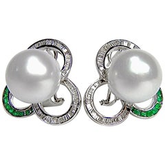Designer White South Sea Pearl Diamond Emerald Earrings 18 Karat