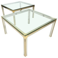 Designer Willy Rizzo Chrome, Brass and Glass Side Tables