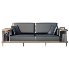 Designer's Leather Sofa Bookshelf Room Divider