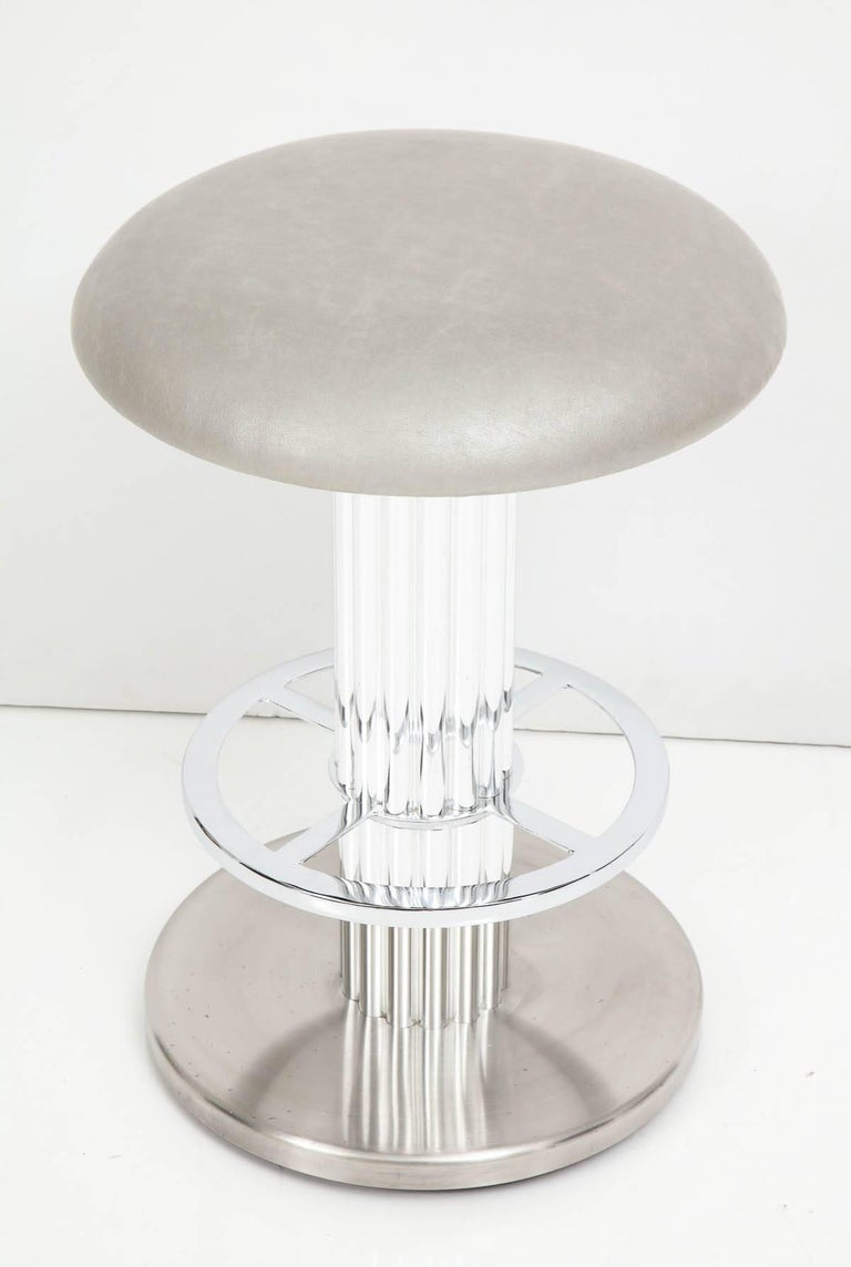 Designs for Leisure Bar Nickeled Steel Stools In Good Condition For Sale In New York, NY