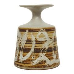 Designs West Stoneware Ceramic Vase Pottery Earth Tones Signed USA, 1970s