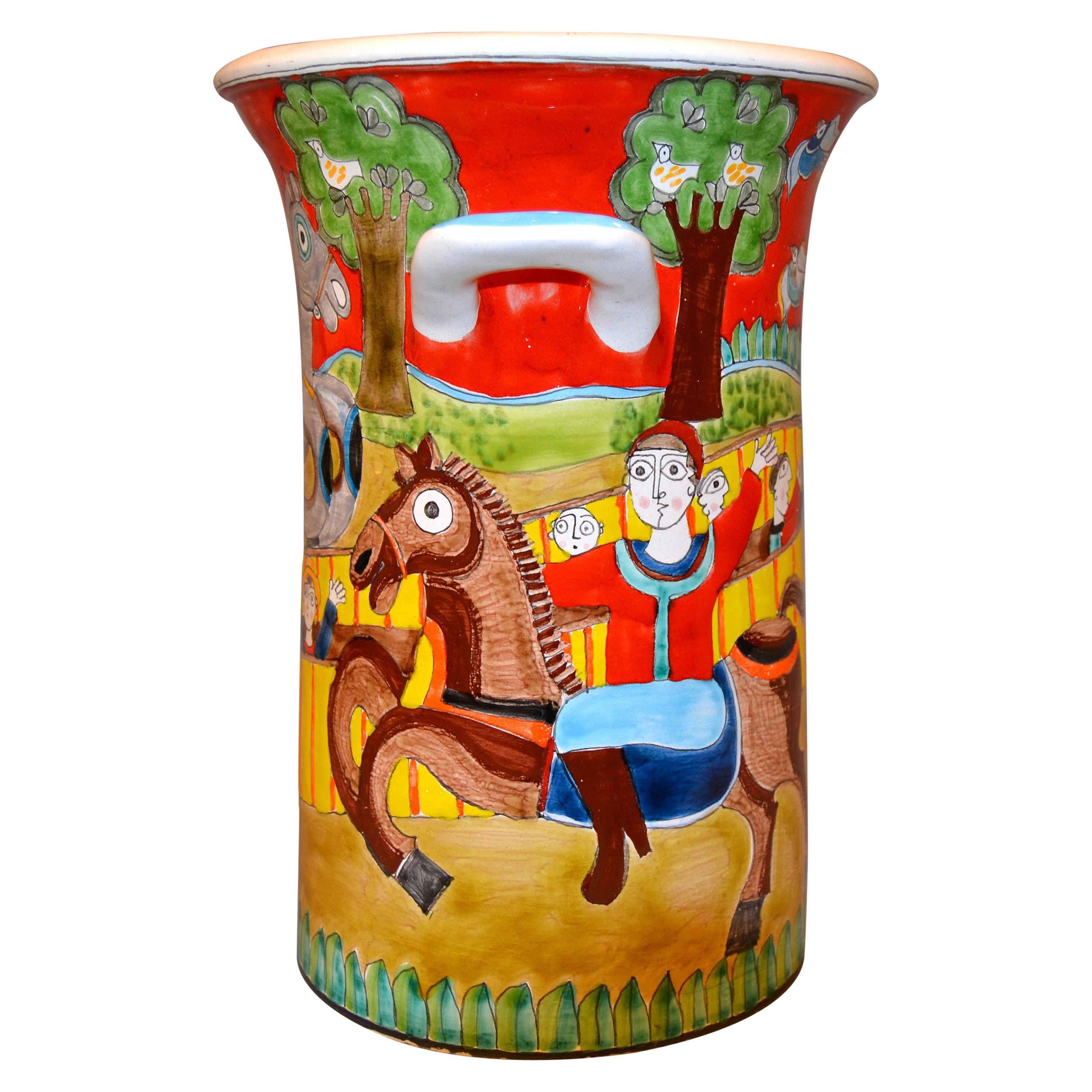 Desimone Hand Painted Art Pottery Vase, Vessel with Handles Circus Horses Italy