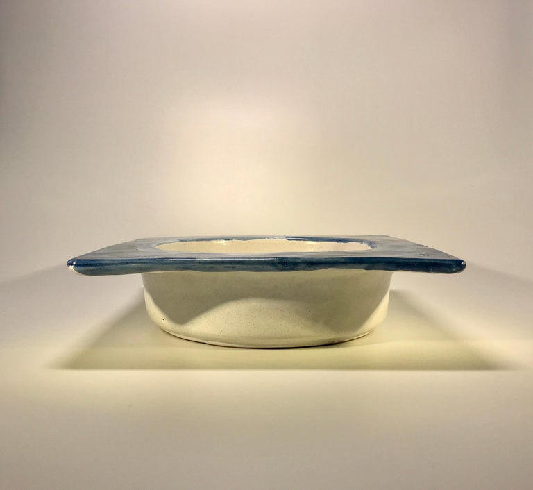 20th Century DeSimone Hand Painted 'Happy Grape Lady' Italian Ceramic Square Heavy Deep Dish  For Sale