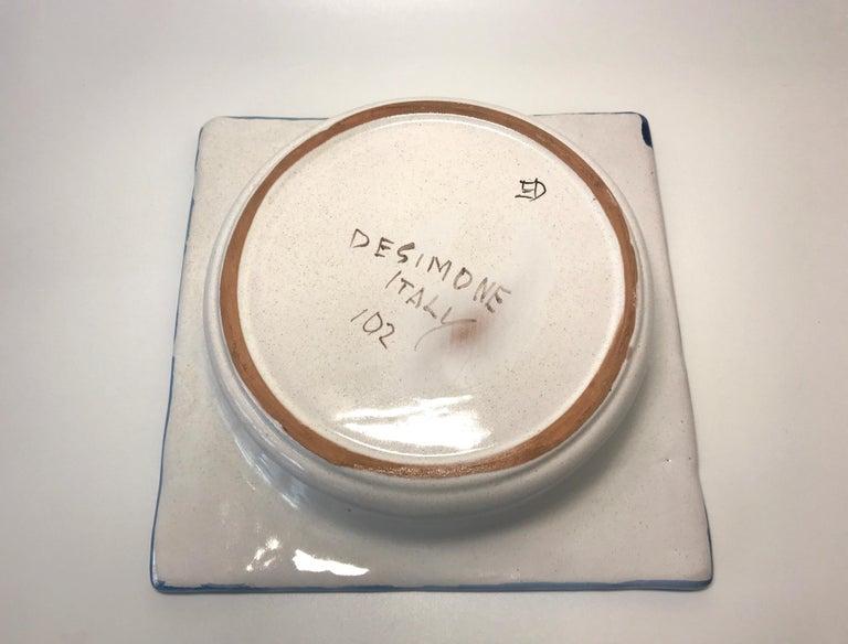 DeSimone Hand Painted 'Happy Grape Lady' Italian Ceramic Square Heavy Deep Dish  For Sale 3