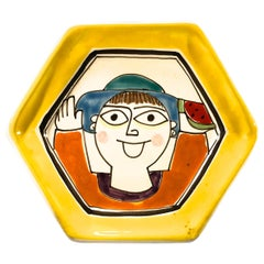 DeSimone Hand Painted Hexagonal Happy Face Italian Yellow Ceramic Plate 1960s