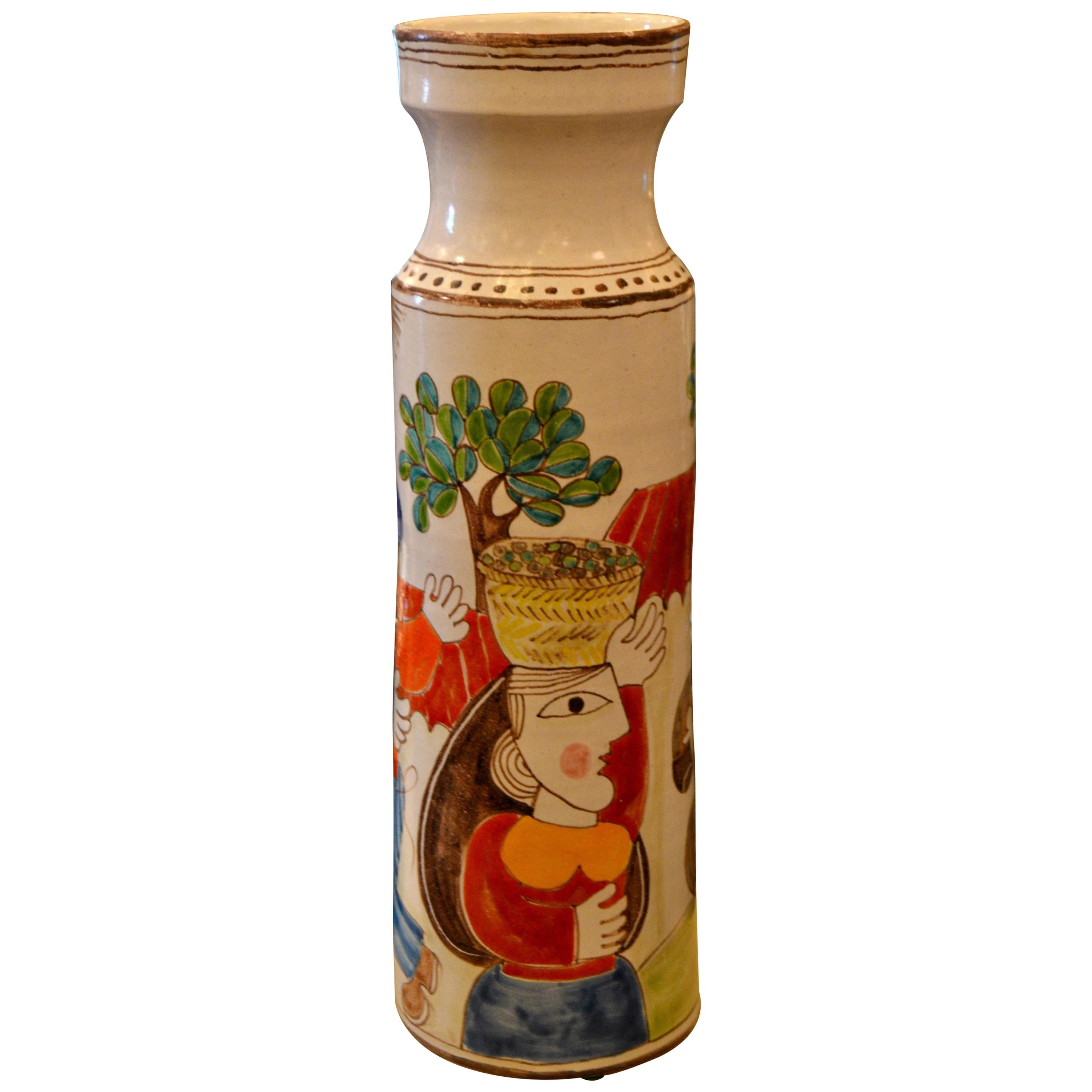 Desimone Hand Painted Tall Art Pottery Flower Vase, Vessel, Olive Picking, Italy