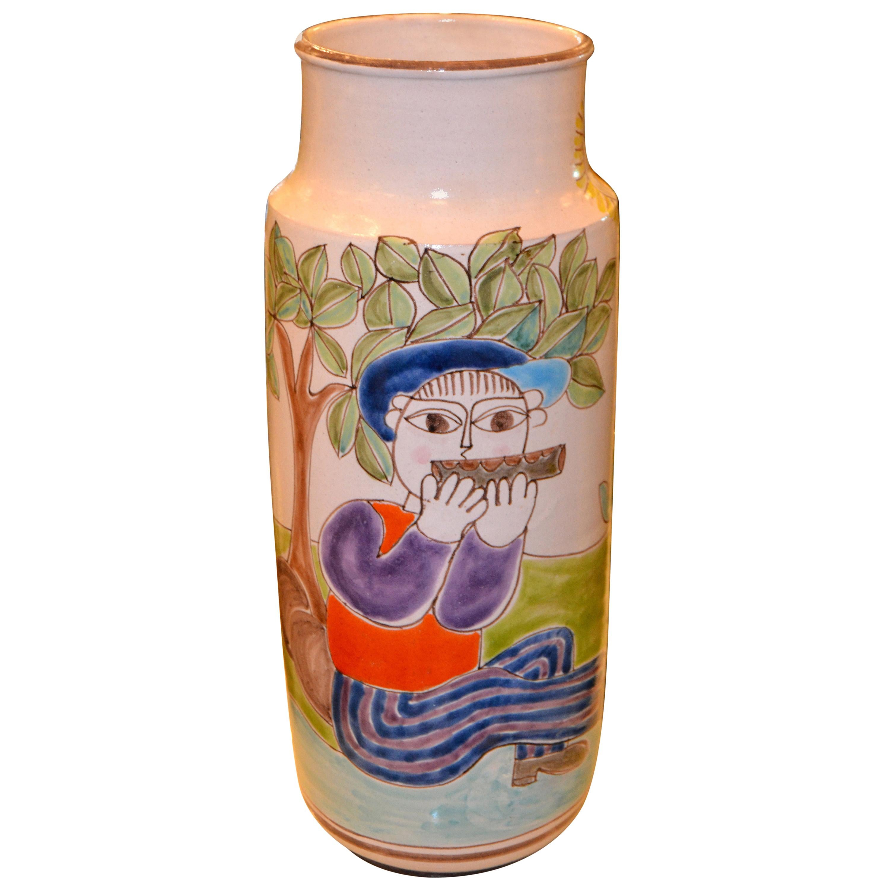 Desimone Hand Painted Tall Art Pottery Flute Player Flower Vase, Vessel, Italy