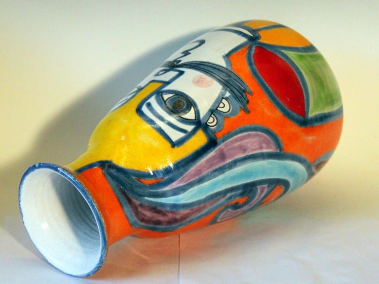DeSimone Italian Pottery Vase Picasso Cubist Style Vintage In Excellent Condition For Sale In Wilton, CT