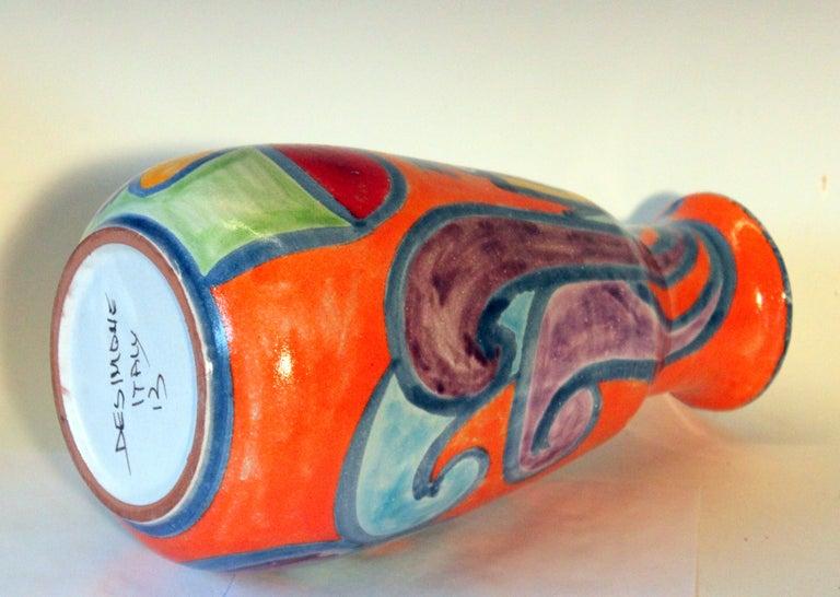 Mid-20th Century DeSimone Italian Pottery Vase Picasso Cubist Style Vintage For Sale