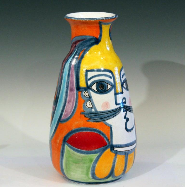 Mid-Century Modern DeSimone Italian Pottery Vase Picasso Cubist Style Vintage For Sale