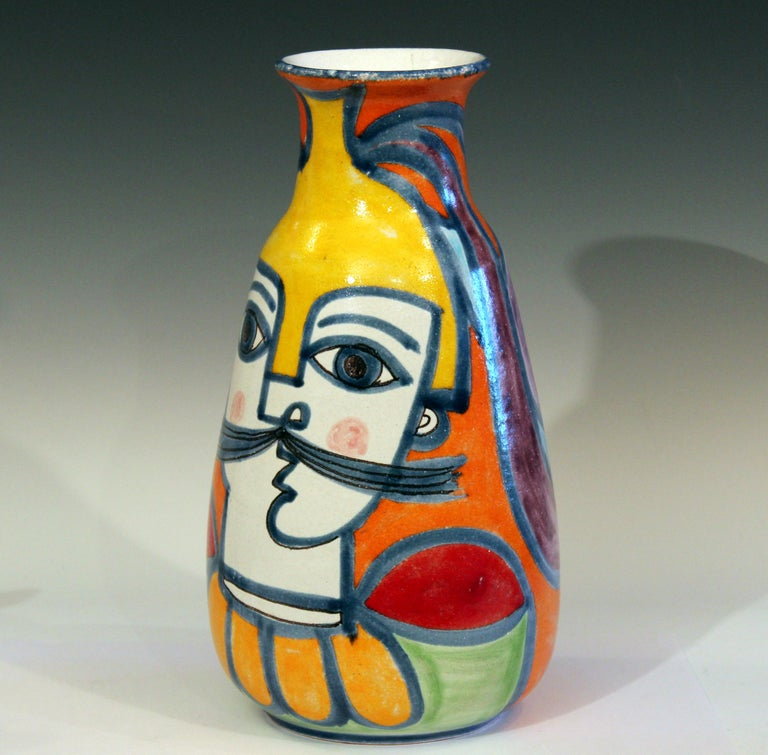 Turned DeSimone Italian Pottery Vase Picasso Cubist Style Vintage For Sale