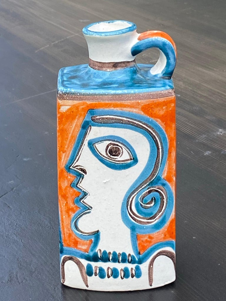 DeSimone Italian Studio Art Pottery Handled Bottle Vase In Good Condition In West Palm Beach, FL