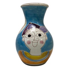 DeSimone, Italy Boy Red Spinning Top Italian Hand Painted Shaped Vase, 1960s
