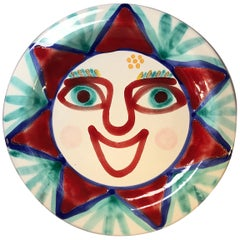 DeSimone of Italy, Hand Painted Bright Happy, Smiley Ceramic Plate, 1960s