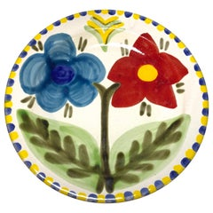 DeSimone of Italy, Hand Painted Bright Red and Blue Flowers Ceramic Plate, 1960s