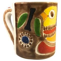 DeSimone of Italy, Hand Painted Chirpy Bird Ceramic Midcentury Coffee Mug, c1960