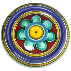 DeSimone of Italy, Hand Painted Colorful Ceramic Plate, 1960s