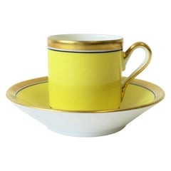 Desinger Italian Richard Ginori Yellow and Gold Espresso Cup & Saucer