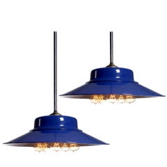 Desirable Cobalt Blue Five-Bulb Benjamin Pendents