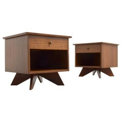 Desirable Pair of George Nakashima Walnut Bedside Tables by Widdicomb