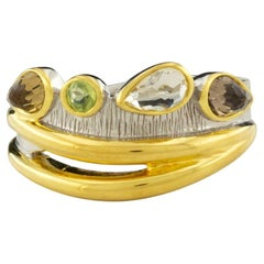 Desire Cocktail Ring in 18K White Gold and Yellow Gold in Topaz
