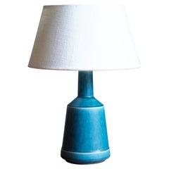Desiree Stentøj, Table Lamp, Blue Glazed Stoneware, Denmark, 1960s