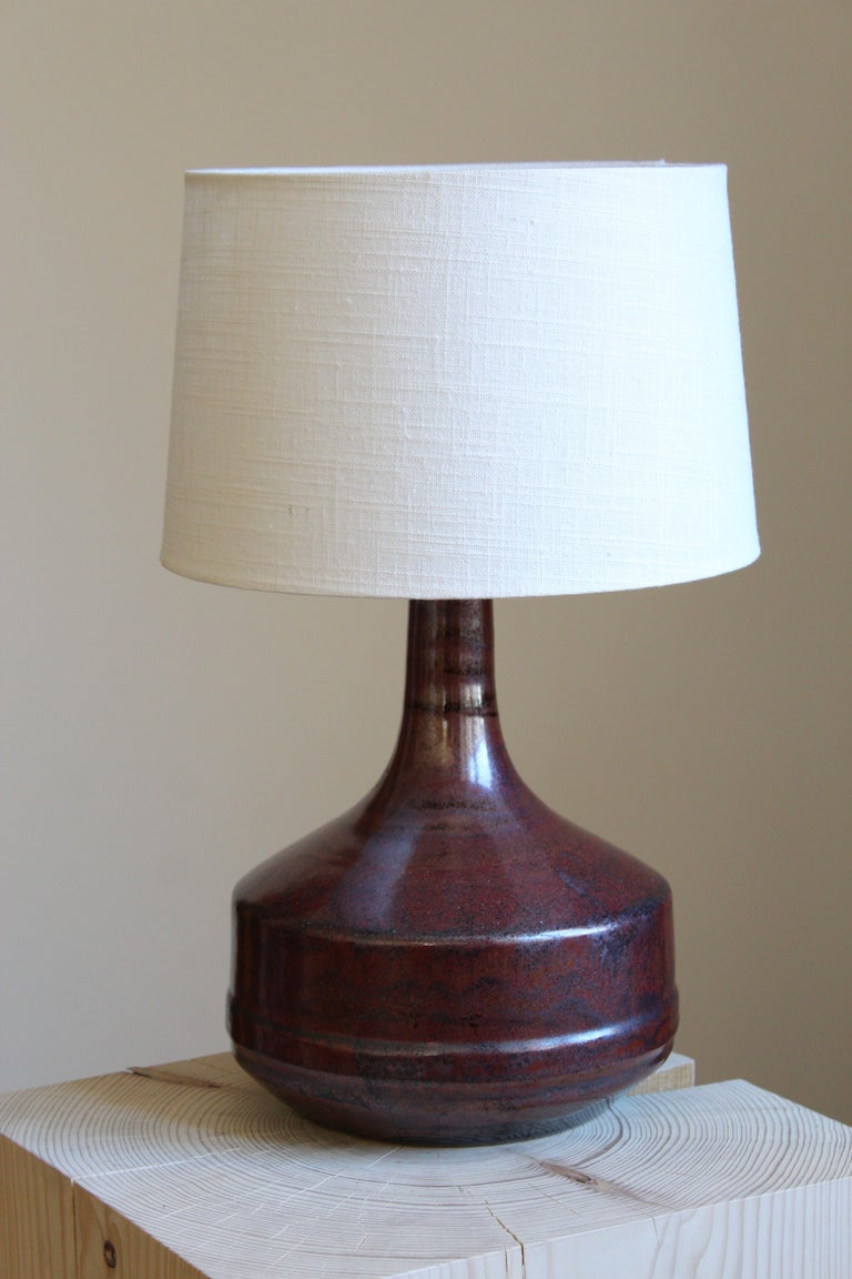 A table lamp, designed and produced by Desiree Stentøj, Denmark, 1960s. stamped.  Other designers of the period include Arne Bang, Axel Salto, Wilhelm Kåge, and Kähler.