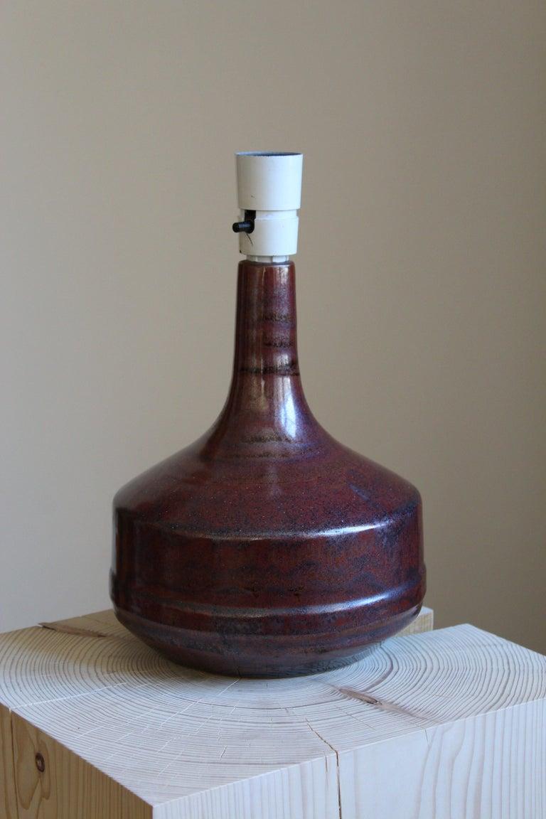 Mid-Century Modern Desiree Stentøj, Table Lamp, Glazed Stoneware, Linen, Denmark, 1950s For Sale
