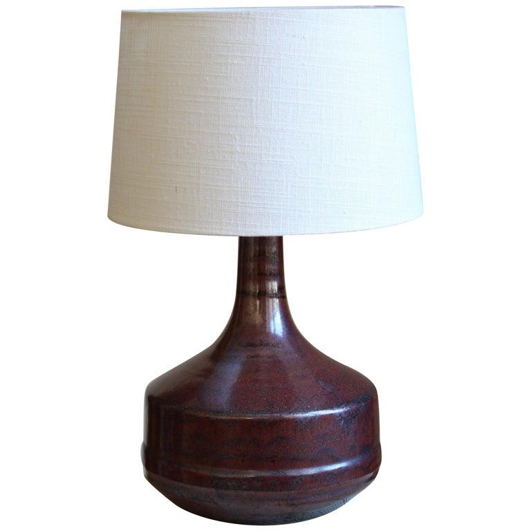 Desiree Stentøj, Table Lamp, Glazed Stoneware, Linen, Denmark, 1950s For Sale