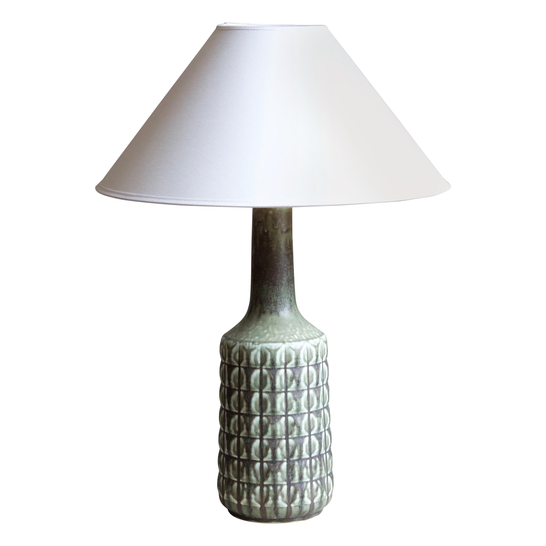 Desiree Stentøj, Table Lamp, Green Glazed Stoneware, Denmark, 1960s