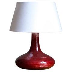 Desiree Stentøj, Table Lamp, Red Glazed Stoneware, Denmark, 1960s
