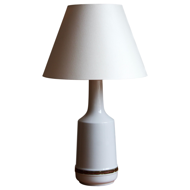 Desiree Stentøj, Table Lamp, White Glazed Stoneware, paper, Denmark, 1950s