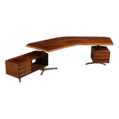 Desk Aluminum and Walnut Veneer Osvaldo Borsani 1970s Tecno