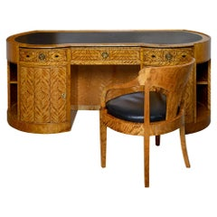 Desk and Armchair Bruno Paul Austrian Jugendstil Birch and Pearwood circa 1907