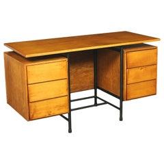 Desk Ash Veneer and Metallic Enameled, Italy, 1960s