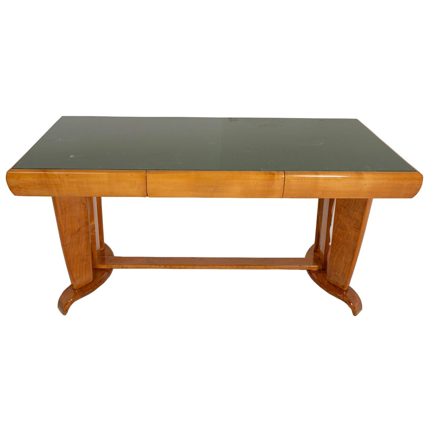 Desk Attr. to Paolo Buffa in Maple and Opaline Glass 1940s