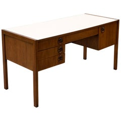 Desk by Edward Wormley for Dunbar, White Laminate Top, Mahogany Case