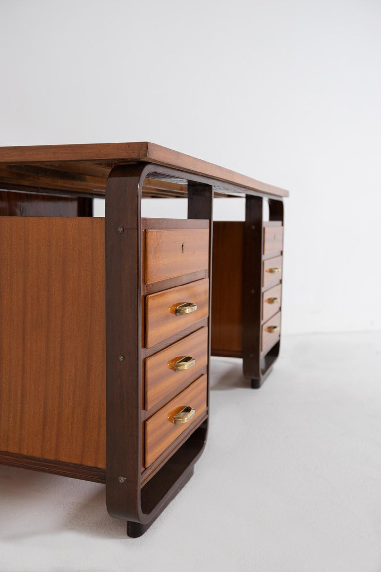 Desk by Giuseppe Pagano in Brass and Wood, Restored 1940s For Sale 5