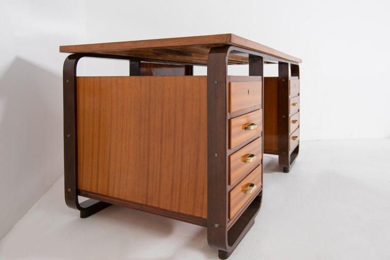 Desk by Giuseppe Pagano in Brass and Wood, Restored 1940s For Sale 6