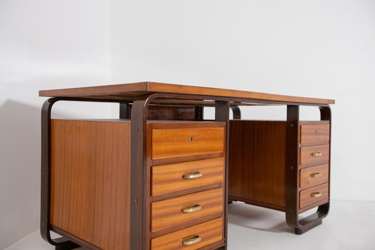Desk by Giuseppe Pagano in Brass and Wood, Restored 1940s For Sale 8